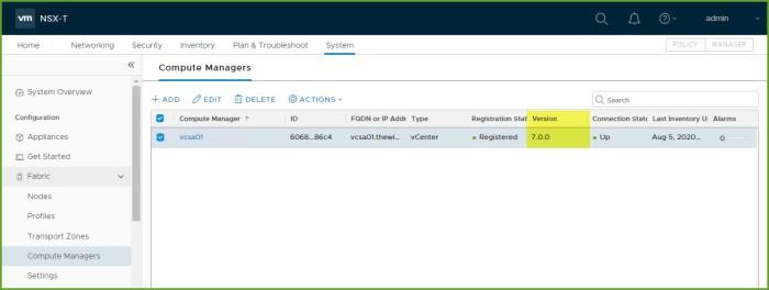 Upgrade Complete - NSX Manager